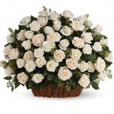 50 White Roses Basket